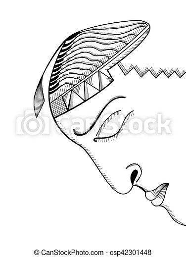 Hand Drawing Face Abstract Surreal Vector Template Can Use For Posters Cards Stickers Illustrations T Shirt Art As Decorative Element