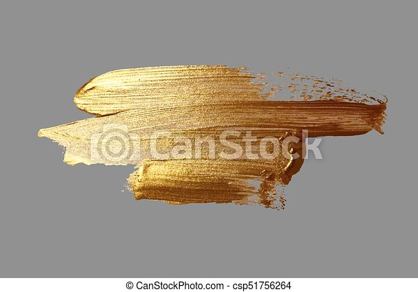hand drawing gold brush stroke paint - csp51756264