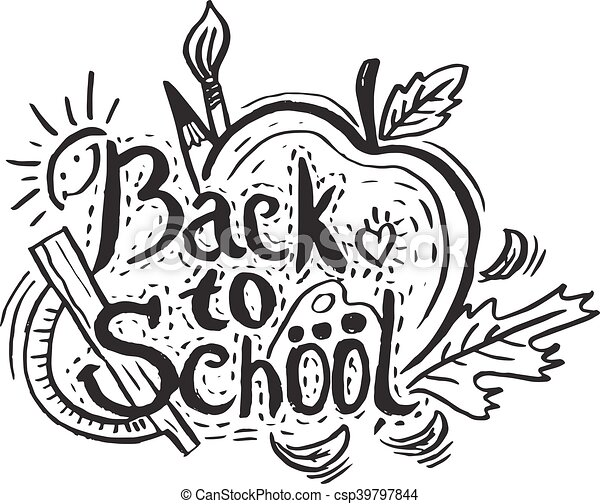 Hand drawing greeting card back to school with appleleafpencil hand drawing greeting card back to school with appleleafpencil and sun vector illustration m4hsunfo