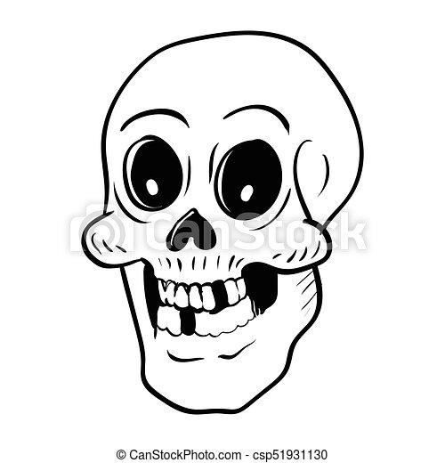 Hand drawing halloween skull head cartoon -vector... vectors ...