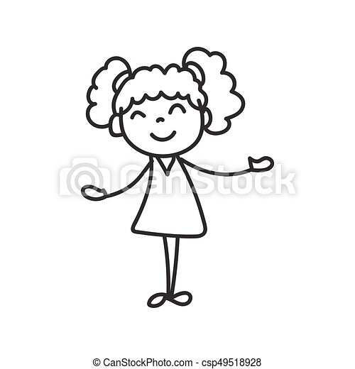 Hand Drawing Happy Cute Girls Line Art Hand Drawing Cute Girls Line