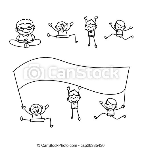 hand drawing happy people hand drawing happy kids cartoon vector