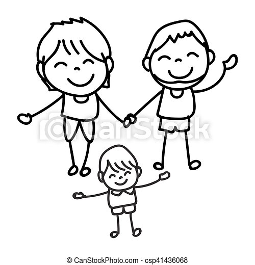 hand drawing happy people happy family vector illustration hand