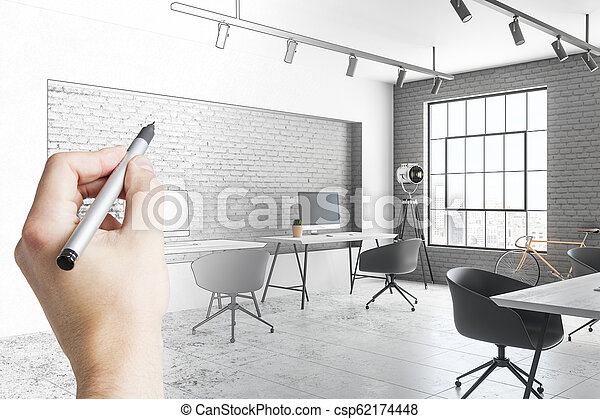 Hand Drawing Modern Office