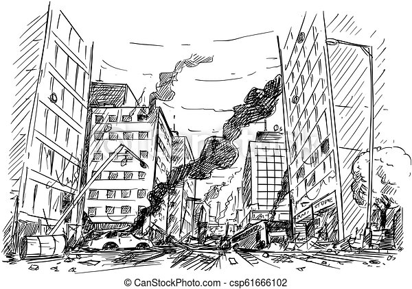 Hand Drawing of City Street Destroyed by War or Riot or Disaster - csp61666102