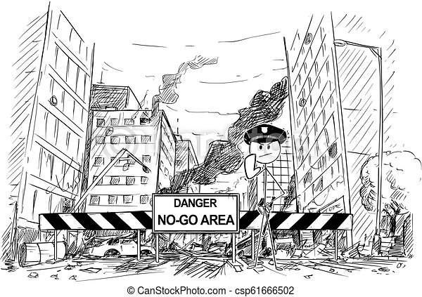 Hand Drawing of City Street Destroyed by Riot, Road Blocked by Danger No-Go Area Sign and Policemen - csp61666502