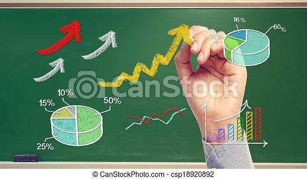 Hand drawing rising arrows and graphs on chalk board - csp18920892