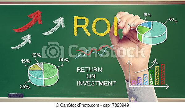 Hand drawing ROI (return on investment)  - csp17823949