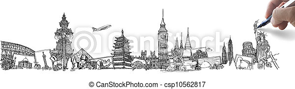 hand drawing the dream travel around the world in a whiteboard - csp10562817