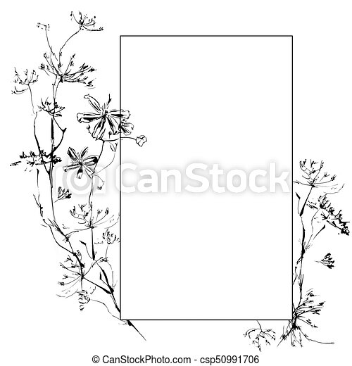 Hand drawing watercolor black anemone flowers and leaves ornament frame - csp50991706