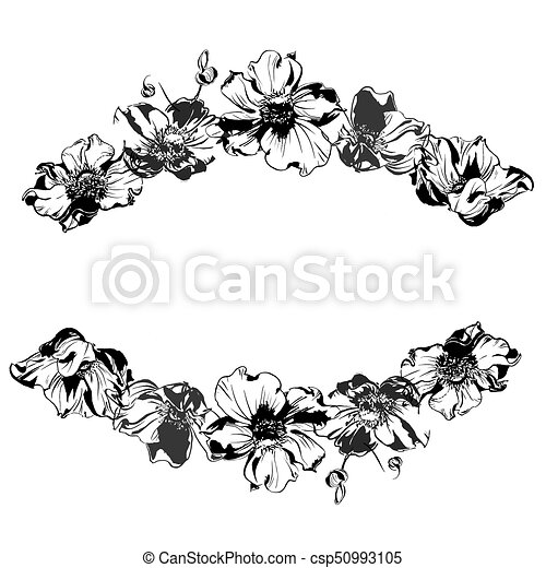 Hand drawing watercolor black anemone flowers and leaves ornament frame - csp50993105