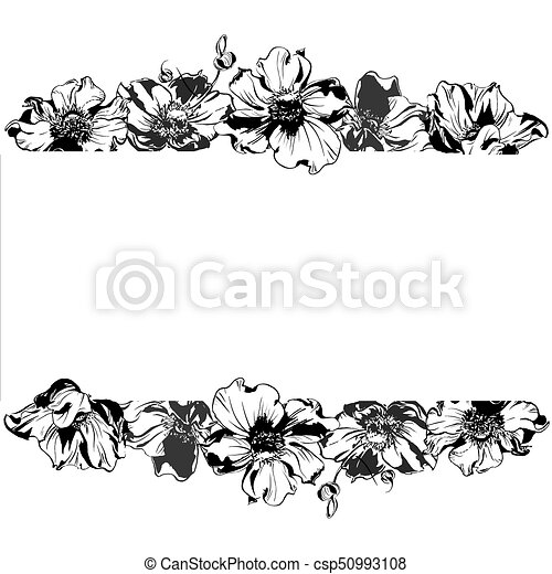 Hand drawing watercolor black anemone flowers and leaves ornament frame - csp50993108
