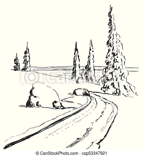 Drawing Christmas Tree Sketch.Hand Drawing Winter Forest With Road Isolated Vector Illustration Christmas Tree Sketch