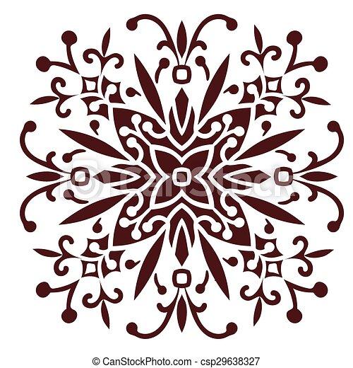 Hand Drawing Zentangle Mandala Element In Marsala Color