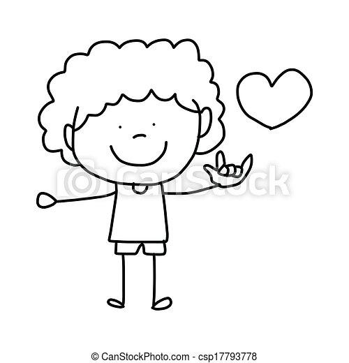 hand-drawn, 愛, 漫画 - csp17793778