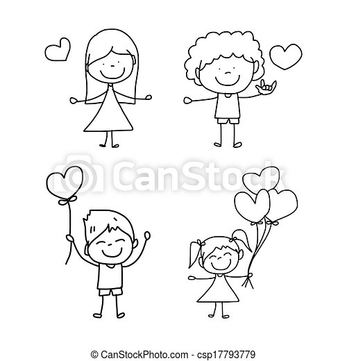 hand-drawn, 愛, 漫画 - csp17793779