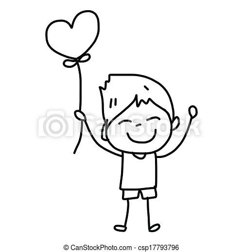 hand-drawn, 愛, 漫画 - csp17793796