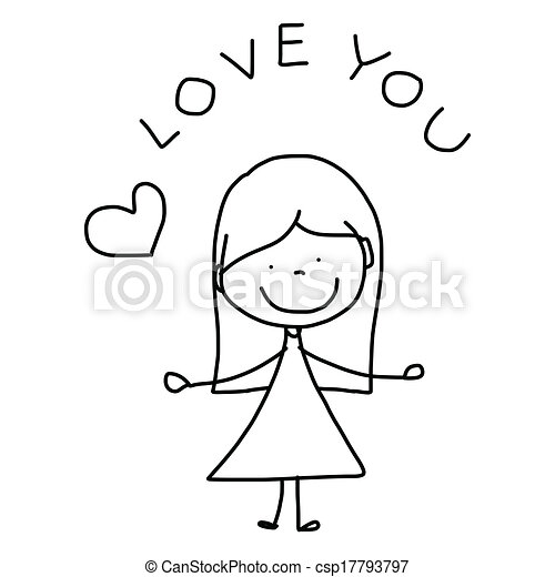 hand-drawn, 愛, 漫画 - csp17793797