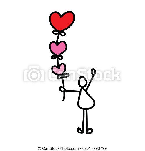 hand-drawn, 愛, 漫画 - csp17793799