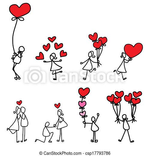 hand-drawn, 愛, 漫画 - csp17793786