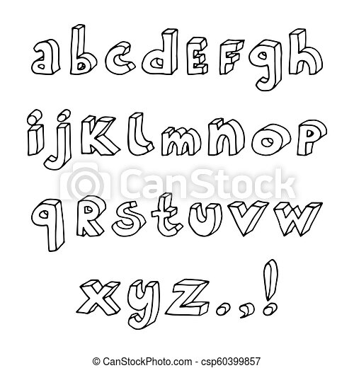 Hand Drawn Abc Set Set Of Hand Drawn Doodle Isometric Outline