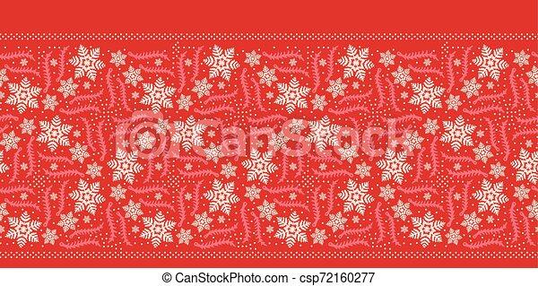 Hand drawn abstract winter snowflake border pattern. Stylish crystal stars. Red ecru monochrome background. Elegant holiday ribbon trim. Festive gift wrap washi tape yule illustration. Seamless vector - csp72160277