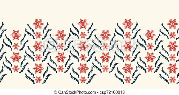 Hand drawn abstract winter snowflake border pattern. Stylish crystal stars. Red ecru monochrome background. Elegant holiday ribbon trim. Festive gift wrap washi tape yule illustration. Seamless vector - csp72160013