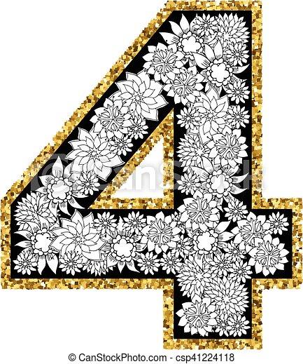 Hand drawn alphabet design. Digit 4 - csp41224118