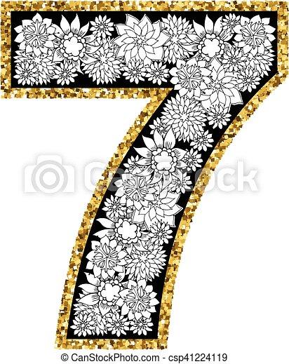 Hand drawn alphabet design. Digit 7 - csp41224119