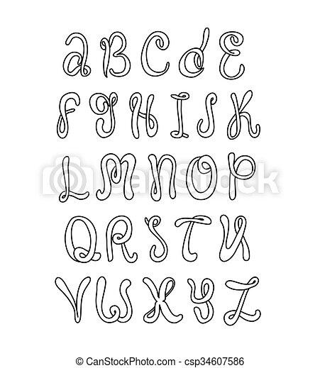 Hand drawn alphabet doodle letters set black font on white doodle letters set black font on white background csp34607586 altavistaventures Images