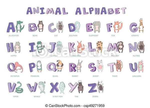Hand drawn alphabet font letters doodle abc for kids with cute hand drawn alphabet font letters doodle abc for kids with cute animal altavistaventures Gallery