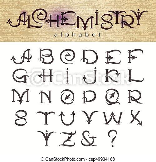 Alphabet Style hand drawn alphabet in alchemy style. hand drawn alphabet in
