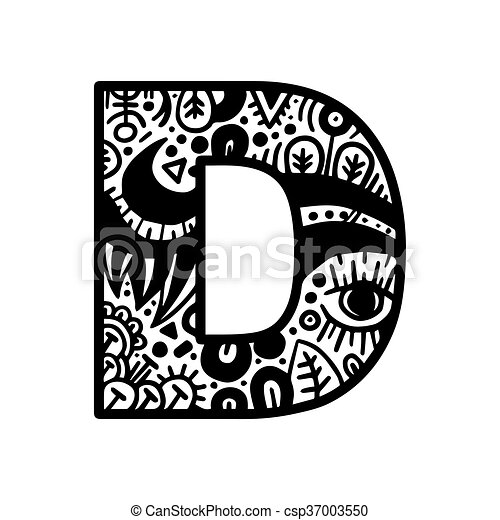 Hand drawn alphabet letter d vector isolated on white background hand drawn alphabet letter d vector isolated on white background for shirt design tattoo decoration doodle lettering zentangle monochrome style anti thecheapjerseys Images