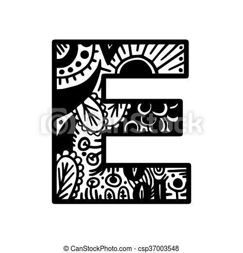 Hand drawn alphabet letter e vector isolated on white eps vector hand drawn alphabet letter e vector isolated on white background for shirt design tattoo altavistaventures Images
