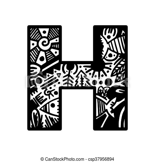 Hand Drawn Alphabet Letter H Vector Isolated On White Background For Shirt Design Tattoo Decoration Doodle Lettering Zentangle Monochrome Style Anti