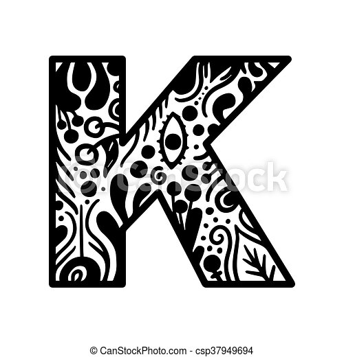 hand drawn alphabet letter k vector isolated on white background