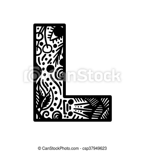 Hand Drawn Alphabet Letter L Vector Isolated On White Background For Shirt Design Tattoo Decoration Doodle Lettering Zentangle Monochrome Style Anti