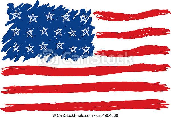 Hand Drawn American Flag - csp4904880