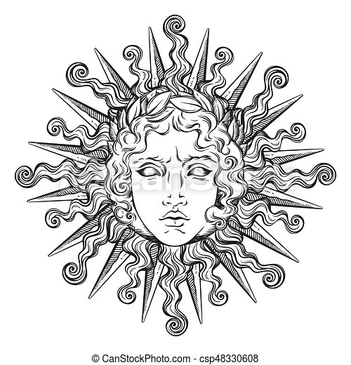 Hand Drawn Antique Style Sun With Face Of The Greek And Roman God Apollo Flash Tattoo Or Print Design Vector Illustrarion