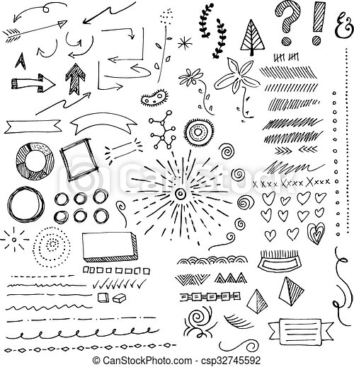Hand Drawn Arrows And Sketches - csp32745592