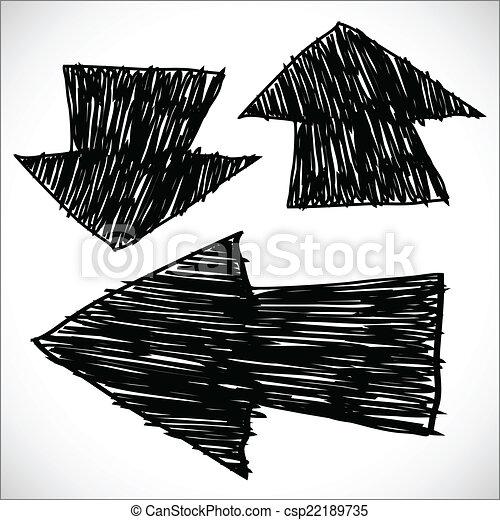 Hand drawn arrows, sketch illustration - csp22189735