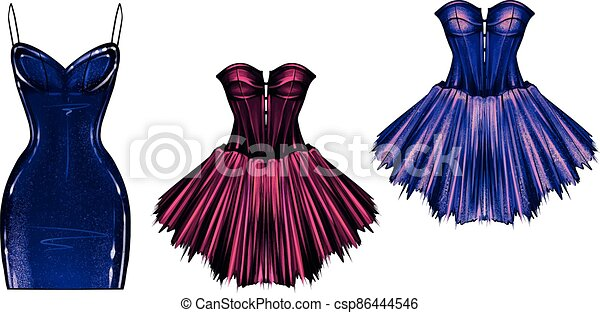 handdrawn art of womens dresses with corset fashionable