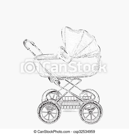 Hand drawn baby carriage - csp32534959