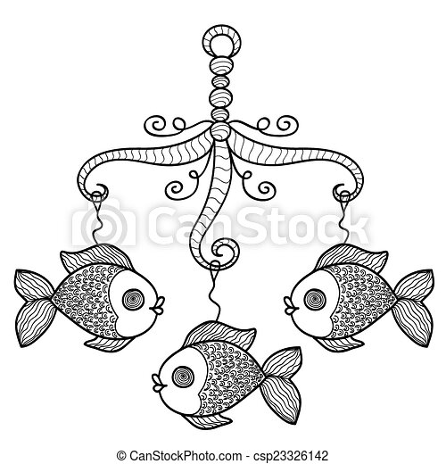 hand drawn baby crib hanging mobile toy with fishes