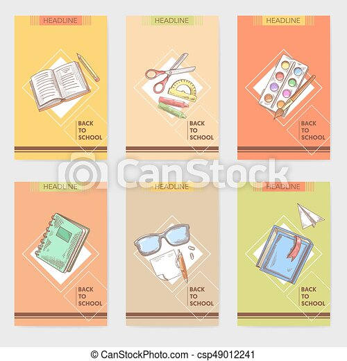 Peachy Hand Drawn Back To School Cards Brochure Design With Books Funny Birthday Cards Online Fluifree Goldxyz