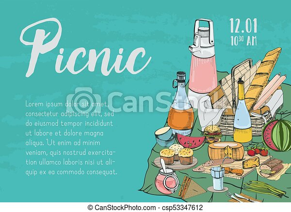 Hand drawn banner poster picnic announcement or invitation hand drawn banner poster picnic announcement or invitation template with traditional wicker basket stopboris Images