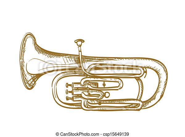hand drawn baritone horn - csp15649139