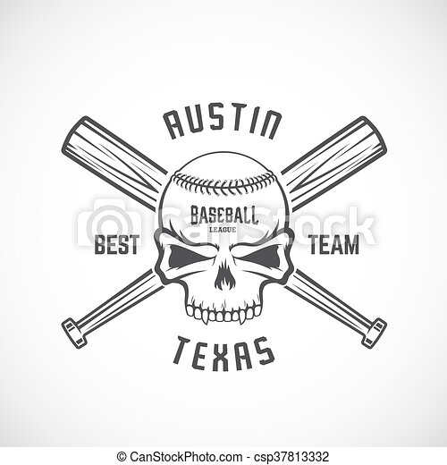 Hand drawn baseball team logo template. skull and crossed bats sign ...