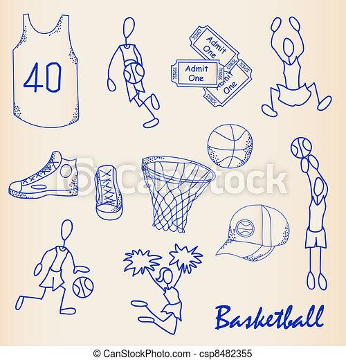 Hand Drawn Basketball Icon Set - csp8482355
