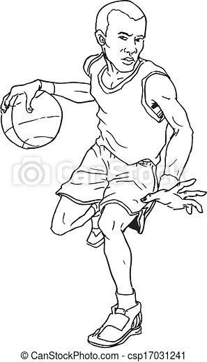 hand drawn basketball man - csp17031241